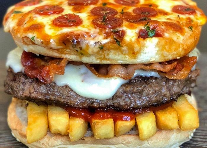پیتزا برگر خوشمزه و عجیب و محبوب